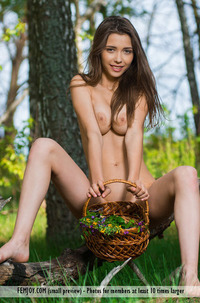 Busty Teen With Shaved Pussy Stripping In The Forest