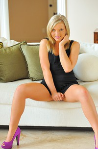 Blonde Teen Strips Off Her Black Dress-01