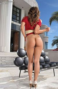 Teen Melanie Jane drops red mini skirt-07