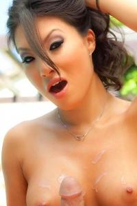 Asa Akira takes cum on her tits