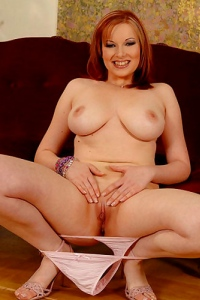 Busty Redhead Babe Ricky Strips Naked & Touches Herself