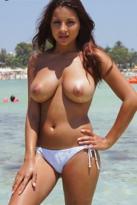 Lacey Presenting Her Beautiful Natural Breasts On The Beach