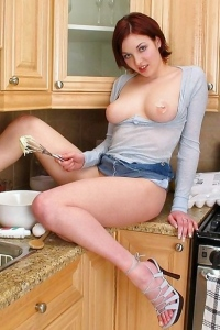 Hot Brunette Teen In The Kitchen
