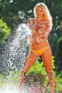 Busty Blond Babe Nikita Valentin Gets Naked & Wet Outdoors