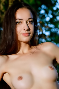 Brunette Teen Chanel C Posing Outdoors