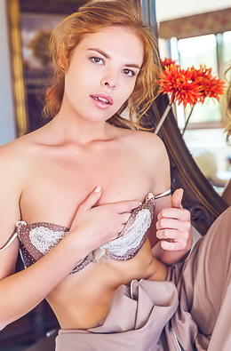 Stunning Redhead Dgil Sits In Her Fancy Lingerie