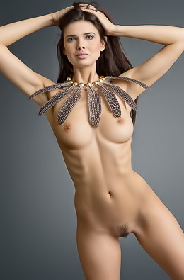 Nude model in necklace