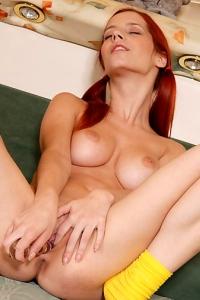 Redhead Ariel With Glass Dildo