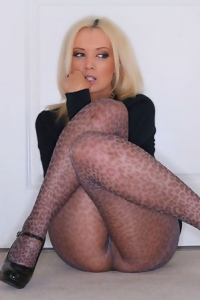 Faye Taylor In Leopard Print Pantyhose With No Panties