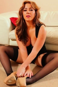 Hot babe Georgina in black stockings