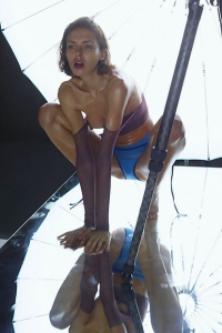 Skinny Brunette In The Studio