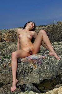 Beata Sexy Brunette Girl Posing Nude Outdoors