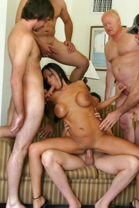 Tera Leigh Satisfies Five Guys In This Gang Bang