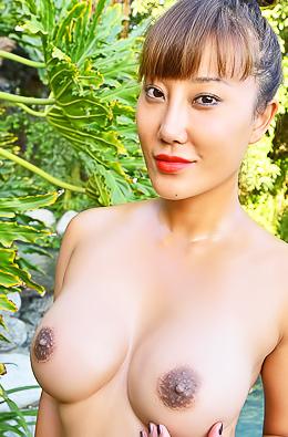 Busty Asian Model Tiffany Stripping