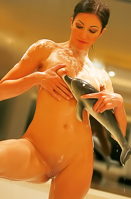 Hottie uses rubber dolphin to masturbate.