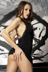 Celeste Star In Hot Black Evening Dress